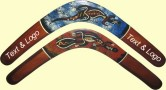Aboriginal art hand painted boomerangs with your text & logo printed