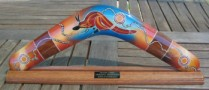 Aboriginal boomerang on stand