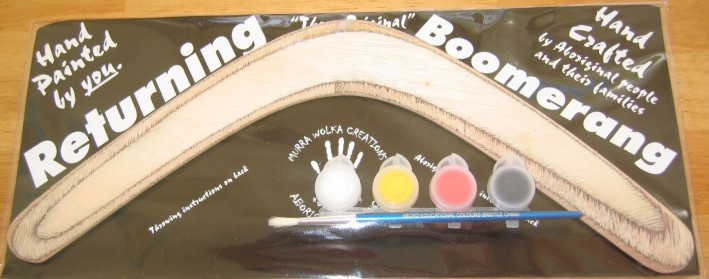 Boomerang activity kit with paint and Aboriginal templates