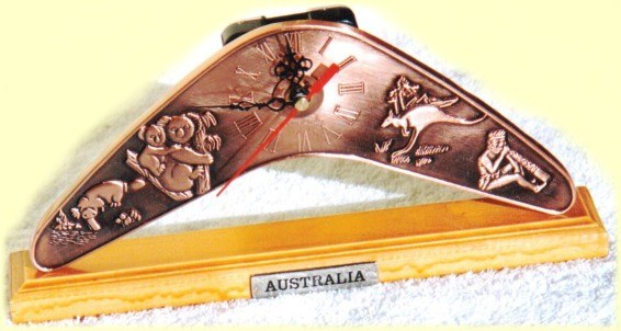 Boomerang shaped desk clocks with Australian motif