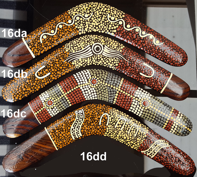 Wooden Boomerangs Australian Aboriginal Dot Art On 16 Inch