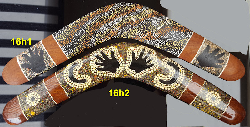 Unique boomerangs, 16 inch. Aboriginal dot art