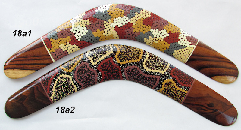 Aboriginal wooden boomerangs | 18 inch | Dot art