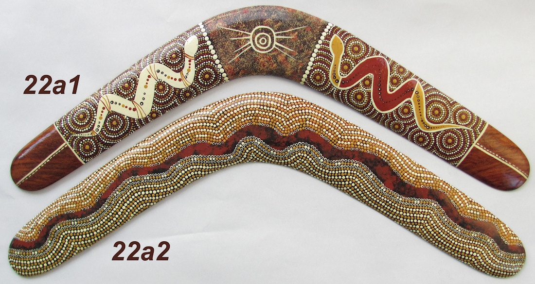 Amazing Aboriginal art collectable boomerangs dot art in desert colors, 22inch / 55cm