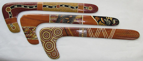 Collectable Hunting boomerangs. Aboriginal dot art